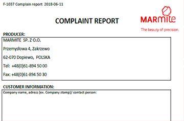 Complaint report