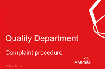 Quality Department Complaint procedure