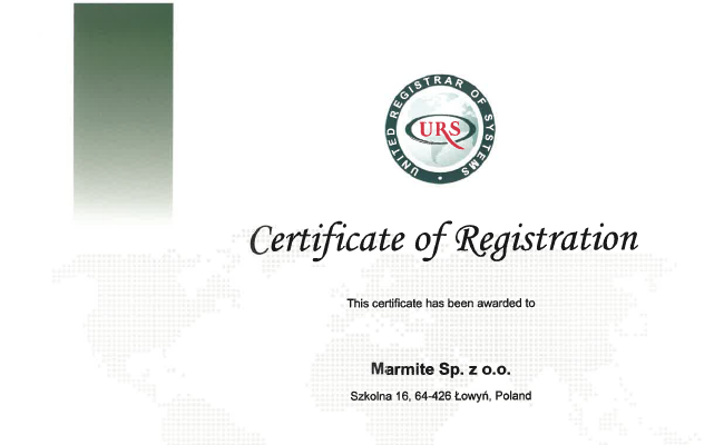 Certificate ISO 28000 (Łowyń)
